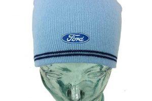 Wintermütze Beanie hellblau mit Ford Oval